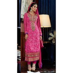 Pink Georgette Party Wear #Churidar Kameez With Dupatta- $75.23