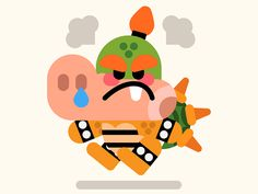 Angry baby Bowser by Carlo Beranek #Design Popular #Dribbble #shots