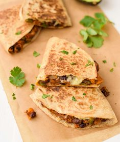 Sweet potato black bean quesadillas are a healthy, fast vegetarian meal! Cheesy and crispy with a sweet, smokey filling. Even meat eaters love this recipe!