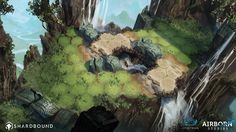 Simon Kopp and I had the opportunity to work on Spiritwalk Games' Shardbound late 2015 into early 2016. We at Airborn studios helped develop the look and feel of the playable areas within the game and worked on a few character designs. The images in this gallery are fairly early explorations for the look of different biomes and locations within the restrictions of the playfields with their hexagonal raster. Part of the exercise was to see how far we could go to obscure the raster, while ...