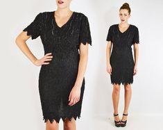vintage 80s black SEQUIN BEADED dress / black by trashyvintage, $48.00
