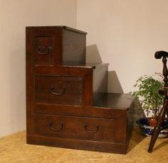 Japanese antique chest 階段箪笥上段(リメイク)