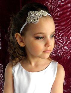 Flower Girl Beaded Headband, Baby Headband, Baptism Headband, Communion