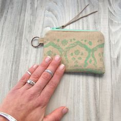 Block Printed Linen Coin Pouch Credit Card Wallet