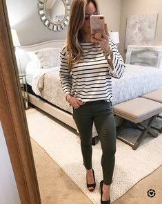 crop skinny jeans and striped top | Dressing Room 3.2.18 | Honey We're Home #inthedressingroom #springfashion #honeywerehome