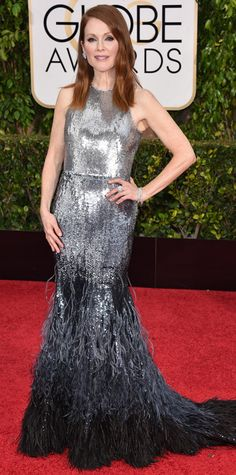 Julianne Moore Photo - Golden Globes 2015 Red Carpet Fashion: Best Dressed Stars - Us Weekly Julianne Moore, Estilo Fashion, Moda Fashion, Beautiful Dresses, Nice Dresses, 2015 Dresses, Belle Silhouette, Red Carpet Gowns, Sequin Gown