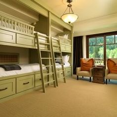 Bunk room has storage under bottom bunk. Vacation Homes Design, Pictures, Remodel, Decor and Ideas - page 9