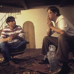 Steve Jobs and Bill Gates (and cat) 1991