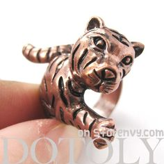 3D Cute Tiger Cat Animal Wrap Around Ring in Copper Size 8 and 9 ONLY