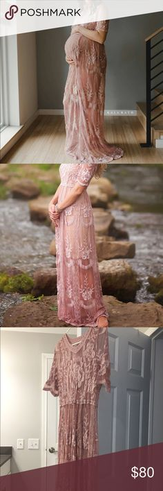 Lace Maternity Gown Gorgeous mauve lace maternity gown with beautiful details and scalloped hem.  Very elegant and romantic. Gown has a light to average stretch and will fit a S/M. Wore only once for personal maternity photos ** Please be aware this gown is completely see through, you will need a slip to go under. Dresses Maxi