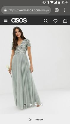 c3783a86 Maya Bridesmaid v neck maxi tulle dress with tonal delicate sequins in  green lily
