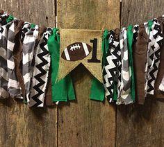 Football Burlap and Fabric Banner, first birthday, sports, boy by RockyTopCharm on Etsy