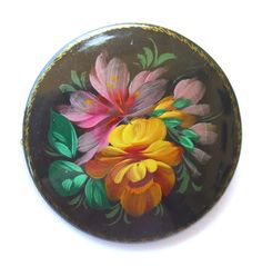 Vintage Russian Brooch Pin Artist Signed Black Lacquer Over Wood Estate Jewelry by BuyVintageJewelry