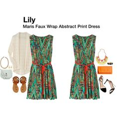 """""""Maris Faux Wrap Abstract Print Dress"""" by katrinalake on Polyvore - Hmmm, now this type of clothing is fun and interesting and pushes me out of my comfort zone without being too crazy."""