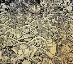 Ancient Thai gold leaf painting art photo