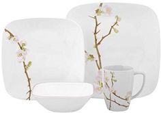 Corelle Cherry Blossom Square Dinnerware Set Serves 4 16pc Multicolored #CORELLE