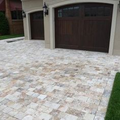 Home - Yard it & Garage Travertine Pavers Driveway - looks way better than just concrete! Stone Driveway, Driveway Pavers, Backyard Pavers, Paver Walkway, Travertine Pavers, Concrete Pavers, Garage Door Design, Wooden Garage Doors, Driveway Landscaping