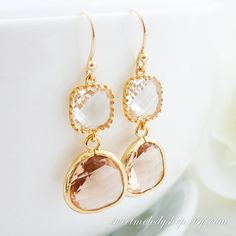 Bridesmaid Gift Wedding Jewelry Bridal Jewelry Bridesmaid Jewelry Champagne and Clear Crystal Gold Drop Earrings Peach Glass Dangle Earrings