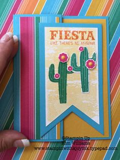 Simple Z Fold Card Technique- Featuring Stampin Up! Fiesta Birthday Stamp Set