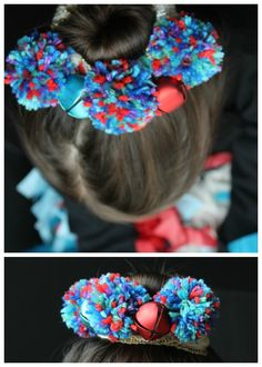 12 Days of Christmas Gifts Kids Can Make: Pom Pom Jingle Bell Hair Accessory Diy Christmas Hats, Christmas Pom Pom, Christmas Gifts For Kids, Christmas Decorations To Make, Fun Activities For Kids, Christmas Activities, Diy For Kids, Crafts For Kids, Toddler Stocking Stuffers