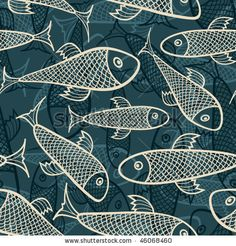 fish pattern in abstract style - stock vector