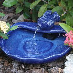 Smart Solar Spouting Koi Fountain, Blue