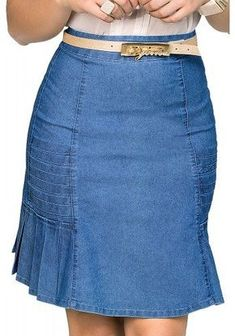 saia jeans clara evase pregas laterais dyork viaevangelica frente detalhe