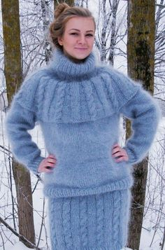 Sweater Dress Outfit, Sweater Set, Sweater Outfits, Gros Pull Mohair, Angora Sweater, Knit Fashion, Wool Sweaters, Crochet, Sweaters For Women