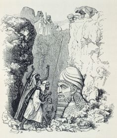 Discovery of giant head in Nimrud Palace, Iraq, from Illustrations of Monuments of Nineveh by Austen Henry Layard, drawing, 1849