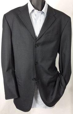 (40L) Suit Jacket Men's Pierre Cardin Gray 100% Wool 3 Button Sport Coat #PierreCardin #ThreeButton