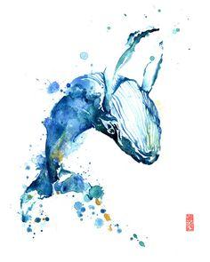 Bailando ballena acuarela arte Giclee Print Animal pintura / acuarela de vida silvestre / regalo de amante de la ballena