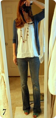blue cardigan and white top