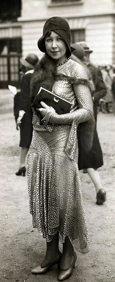 A stylish woman at the Longchamp races in Paris, 1929