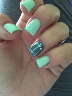 cool Love a fresh set! Mint and grey with a little arrow love.....
