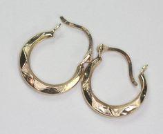 14K Gold Hoop Earrings Vintage Smaller Lever Back by PastSplendors, $69.00