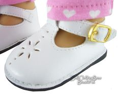 """White T-Strap Shoes for 18"""" American Girl Doll Clothes Accessories #Unbranded"""