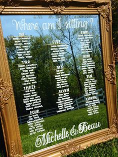 Mirror Seating Charts for Weddings in Assorted Frame Styles/Colors. Hand Written and Customizable with Calligraphy
