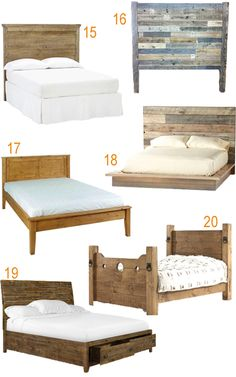 Get the Look: 20 Rustic Reclaimed Wood Beds - StyleCarrot Blue Master Bedroom, Airy Bedroom, Reclaimed Wood Beds, Reclaimed Furniture, Dyi Beds, Bedroom Curtains With Blinds, Beige Headboard, West Home, Wood Platform Bed