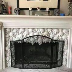I love this fireplace! Skull Artwork, Skull Painting, Skull Fire, Skull Scarf, Skull Shirts, Skull Makeup, Amazing Decor, Gothic House, Skull Jewelry