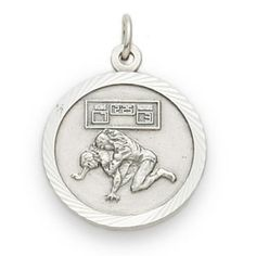 Sterling+Silver+Wrestling+Medal+with+Cross+on+Back - Christian Necklace for $64.99 | C28.com