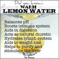 The health benefits of drinking lemon water, and drinking warm lemon water. These little superfruits can really change your life, just by drinking a glass of lemon water once or more a day! Healthy Drinks, Healthy Tips, How To Stay Healthy, Healthy Foods, Healthy Recipes, Healthy Habits, Healthy Choices, Healthy Weight, Healthy Skin