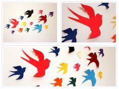 3d Paper BirdsMulticoloredPaper Birds3d bird wall by MyDreamDecors, $14.50