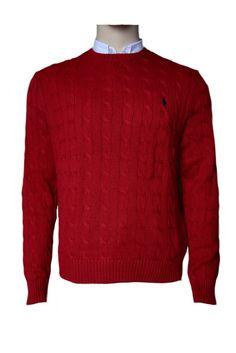 Polo Ralph Lauren Cotton Cable Crewneck Jumper Sweater Tudor Red XL BNTW #RalphLauren #Jumpers
