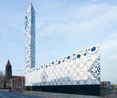Power plant in the Netherlands clad in Delftware glazed tiles.  Amazing!!!