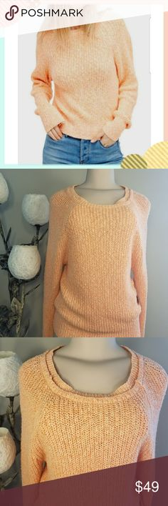 Free People Electric City Pullover Sweater Brand new with tag   Color: tangerine   Free People Electric City Pullover Sweater Women's Sz small and medium  - Crew neck  - Long raglan dolman sleeves  - Knit construction   Fiber content  55% cotton, 36% linen, 9% nylon Free People Sweaters Crew & Scoop Necks