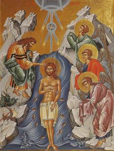 Theophany - Baptism of Jesus Christ in the Jordan River Religious Images, Religious Icons, Religious Art, Byzantine Art, Byzantine Icons, Assumption Of Mary, Baptism Of Christ, Greek Icons, Mosaics