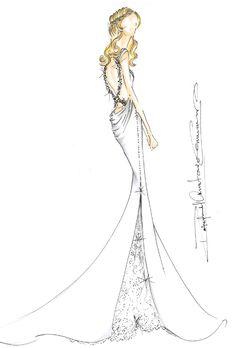 Wedding dress sketch for Jennifer Aniston | Rafael Cennamo | brides.com