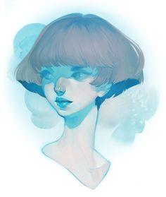 visage - blue by Lois van Baarle