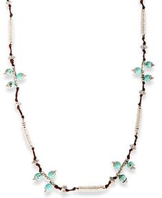 Lucky Brand Necklace, Silver-Tone Turquoise Beaded Strand Necklace - All Fashion Jewelry - Jewelry & Watches - Macys