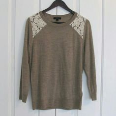 NWOT J.Crew soft beige with lace cut outs sweater Brand new. Never worn. Really soft and comfy. The lace stands on its own and is not on top of fabric which I really like. No flaws! J. Crew Sweaters Crew & Scoop Necks
